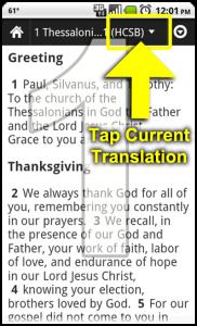1. Tap current translation