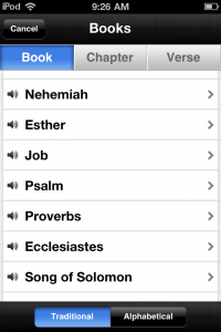 The Bible App™ Book/Chapter/Verse Navigator