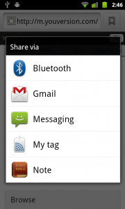 The Bible App™ for Android 3.4 Sharing