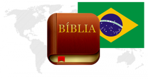 Bible App™ Icon and Portuguese Flag Over World Map