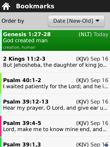 The Bible App™ for BlackBerry Bookmark List - YouVersion
