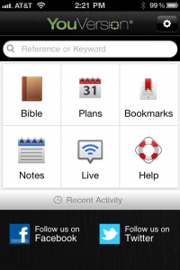 Help on the Dashboard Launcher in the Bible App™ for iOS v. 3.5