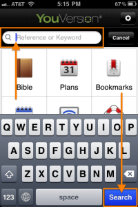 Quick Search in the Bible App™ for iOS Version 3.5