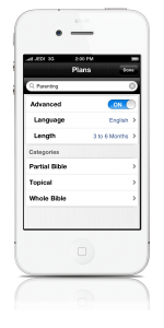 The Bible App™ for iPhone v. 3.6 Language Selection