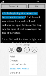 The Bible App™ for Windows Phone 2.1 Reader Settings