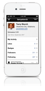 Profile Settings page on the Bible App™ for iPhone v. 3.7