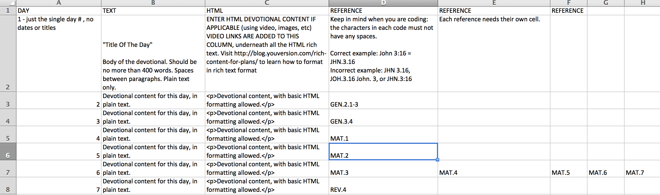 Plan Formatting Instructions - YouVersion