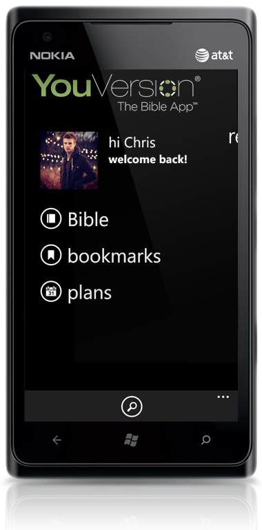 Dashboard of Bible App™ for Windows Phone on Nokia Lumia 900
