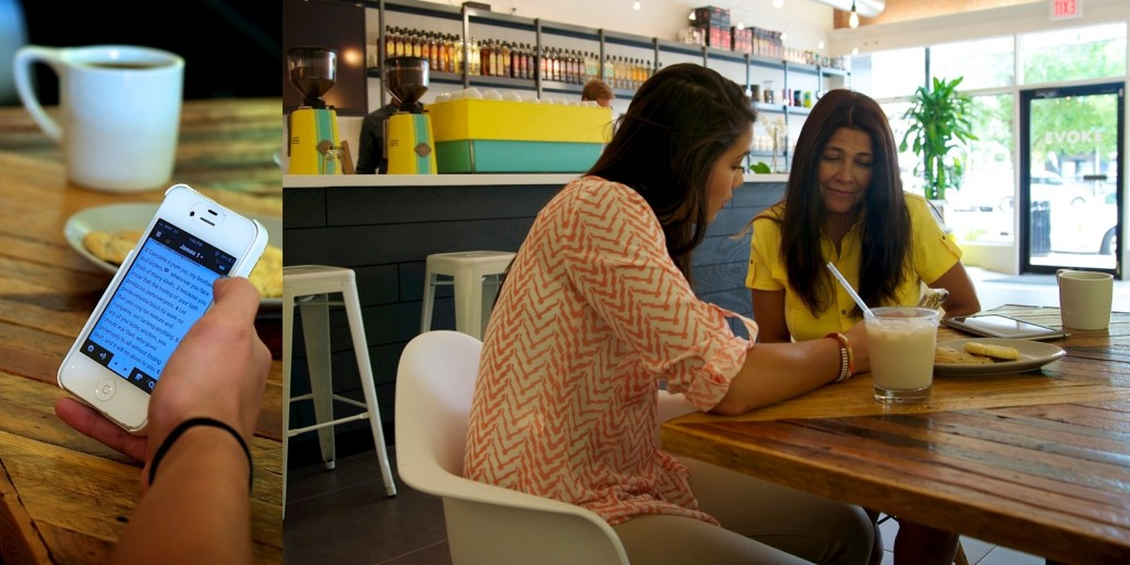 iPad - two hispanic women in coffee shop 3