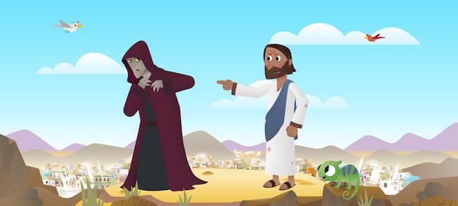 Jesus sends Satan away after His temptation in the wilderness