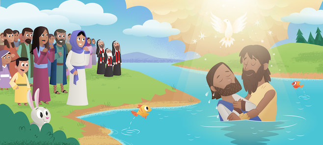 The Holy Spirit descends on Jesus at His baptism