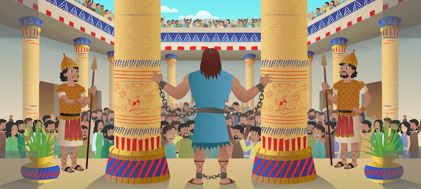 Samson chained between temple columns