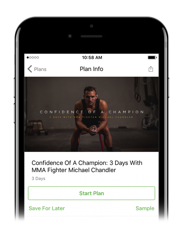 Smartphone showing the Bible Plan, Confidence of a Champion: 3 Days with MMA Fighter Michael Chandler